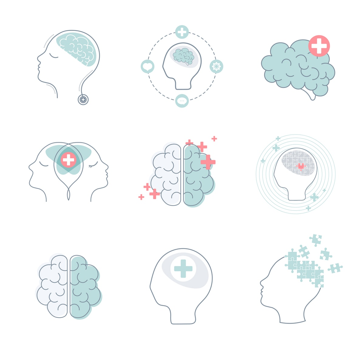 Artist illustrations of the brain to represent counselor and counseling