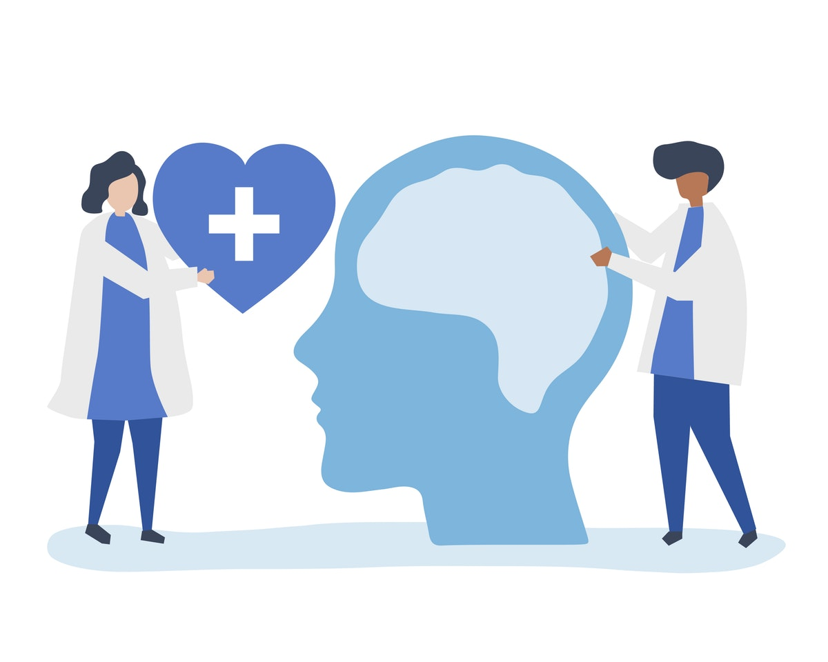A graphic of two counseling professionals holding a heart next to someone's face, showing how counseling can help heal you.