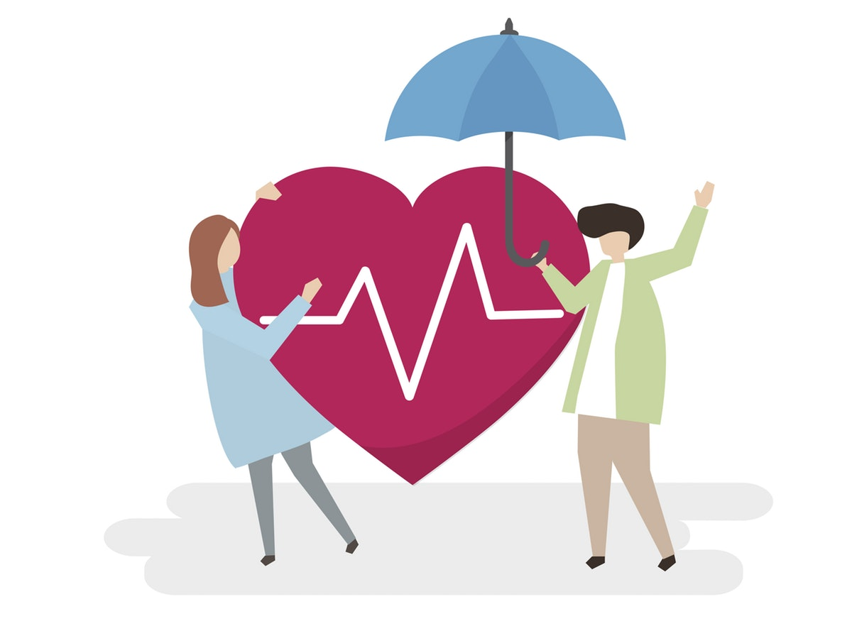 A cartoon man and woman stand on either side of a heart with a pulse sign. The man holds an umbrella.
