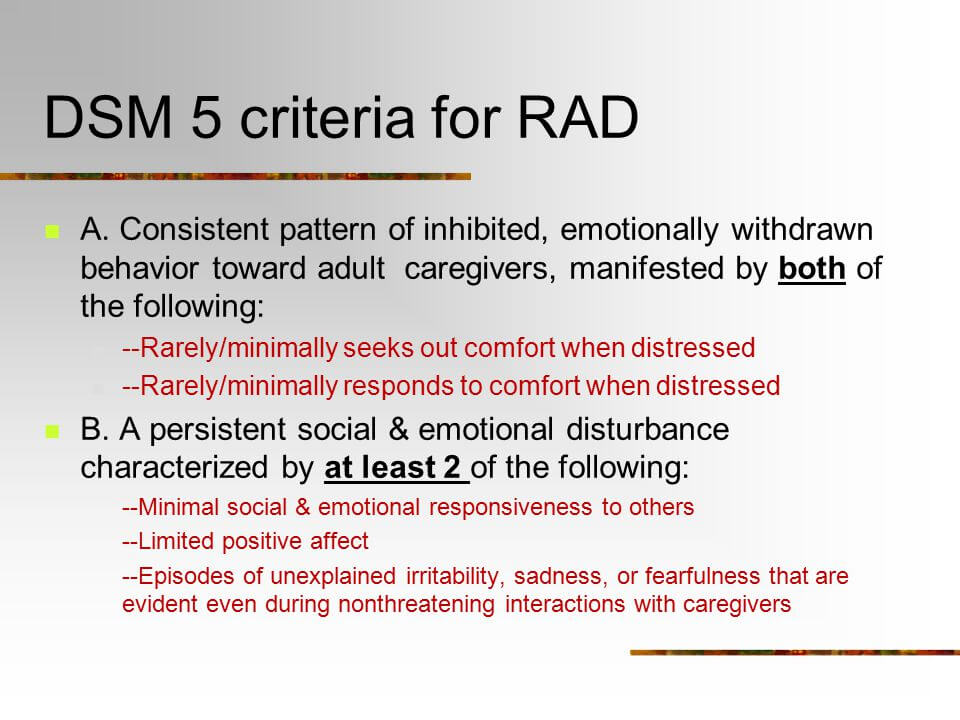 attachment iv Adult disorder dsm